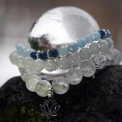 Stretcharmband mix - 3 stycken, bergkristall, månsten, topas, cyanit