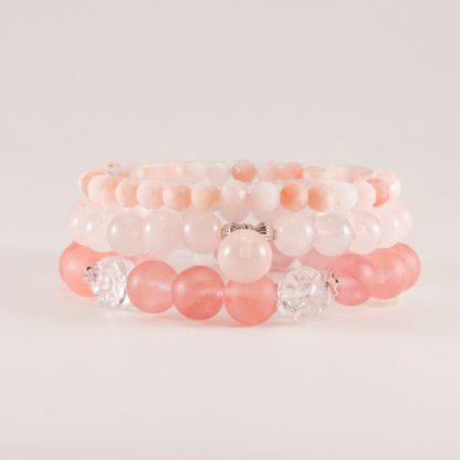 Stretcharmband Mix - 3 stycken rosa kvarts, bergkristall, rosenkvarts, morganit. Mineralsmycken
