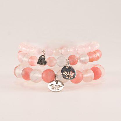 Armband mix - 3 stycken stretcharmband med rosenkvarts, vit och rosa kvarts.Mineralsmycken.
