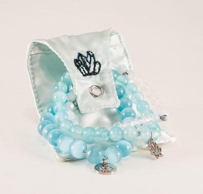 Stretcharmband Mix - 3 stycken bergkristall & topas, blå jadeit. Mineralsmycken. Mineral smycken.