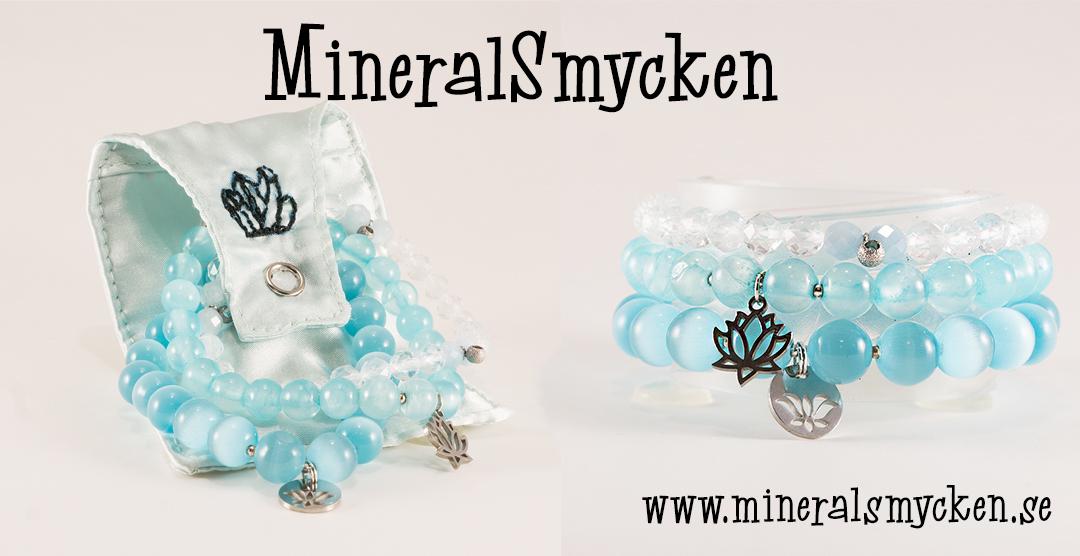 Armband av mineral & smyckespåse. Mineralsmycken.