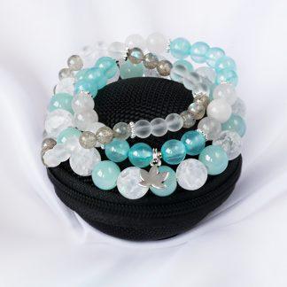Armbandsset Aqua - tre stretcharmband (Bergkristall, Jadeit, Labradonit)