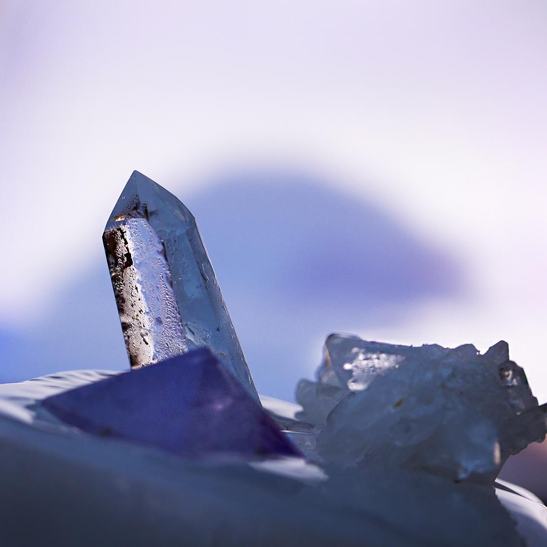 Mineralsmycken bergskristall, ametist