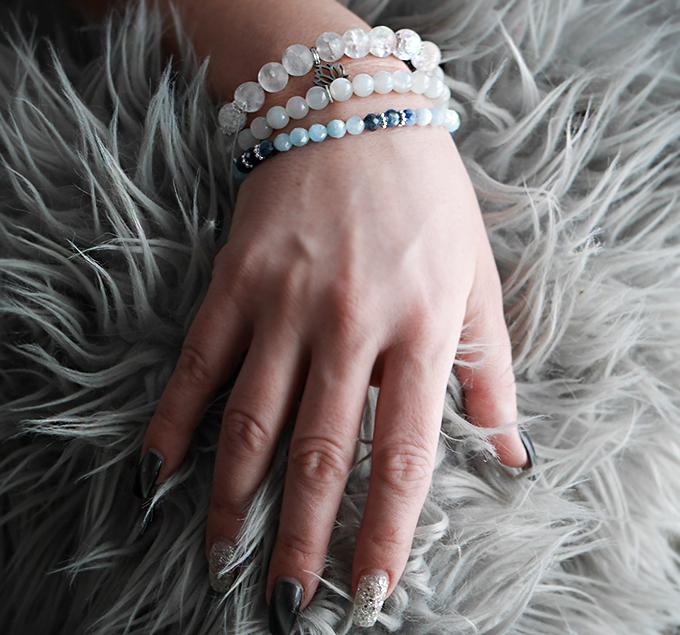 Stretcharmband Mix 3 stycken - bergkristall, månsten, topas och cyanit