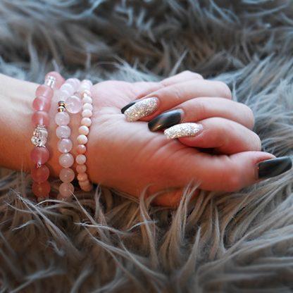 Stretcharmband Mix - 3 stycken rosa kvarts, bergkristall, rosenkvarts, morganit