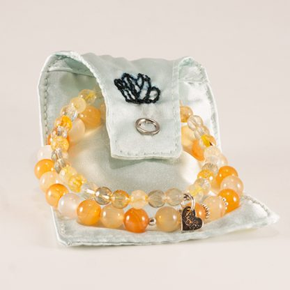 Stretcharmband Mix - 2 stycken citrin & agat. Silkenslen smyckespåse.