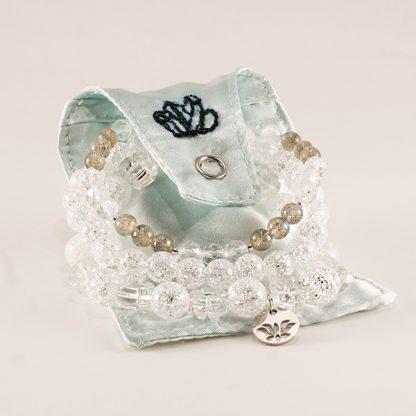 Stretcharmband Mix - 3 stycken bergkristall och labradonit med smyckespåse