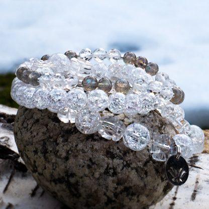 Stretcharmband Mix - 3 stycken bergkristall och labradonit . Mineralsmycken.