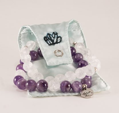Stretcharmband Mix - 2 stycken bergkristall och ametist