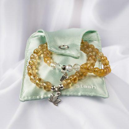 Armband Mix 2 stycken – Sunrise (citrin, bergkristall). Smyckepåse.