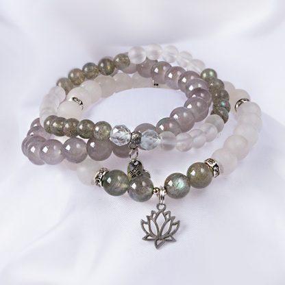 Stretcharmband Mix - 3 stycken bergkristall, opal, labradonit. Mineralsmycken