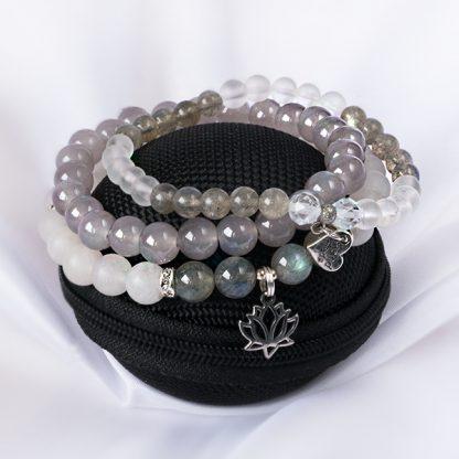 Stretcharmband Mix - 3 stycken bergkristall, opal, labradonit