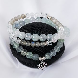 Stretcharmband Mix - 3 stycken akvamarin labradonit fluorit bergkristall