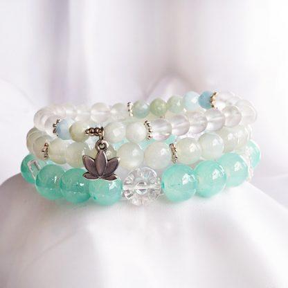Stretcharmband Mix - 3 stycken månsten, bergkristall, jadeit, opal. Mineralsmycken.