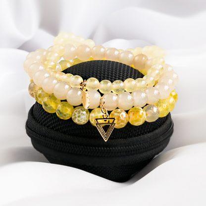 Armbandsset Sunskine - tre stretcharmband opal, jadeit
