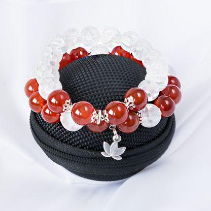 Armbandsset Passion - två stretcharmband (Karneal & krackelerad bergskristall).