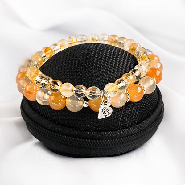 Stretcharmband Mix - armbandsset citrin & agat