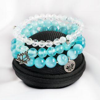 Stretcharmband Mix - 3 stycken bergkristall & topas, blå jadeit