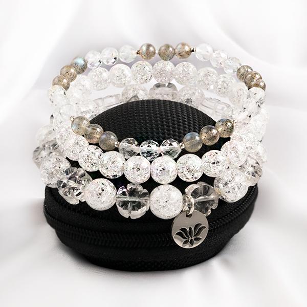 Stretcharmband Mix - 3 stycken bergkristall och labradonit