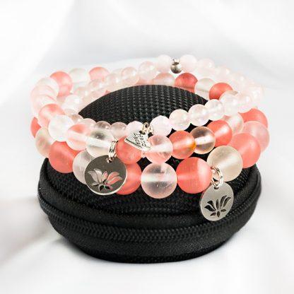 Armband Mix - 3 stycken stretcharmband med rosenkvarts, vit och rosa kvarts