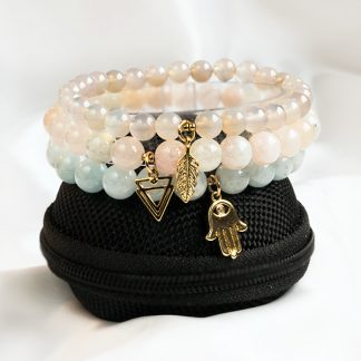 Armbandsset Happiness - tre armband (Akvamarin Morganit Agat). Mineralsmycken.