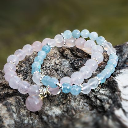 Armbandsset Sea Water - Akvamarin, bergkristall, rosenkvarts. Mineralsmycken. Armband.