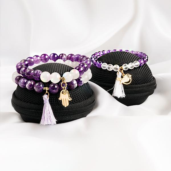 Armbandsset Love - Mor & Barn stretcharmband (Ametist, Bergkristall)