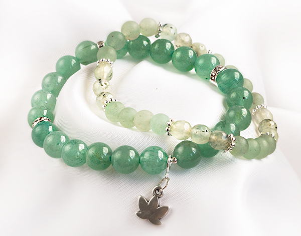 Armbandsset - Hope, grön aventurin & prehnit. Mineralsmycken. Natursten.