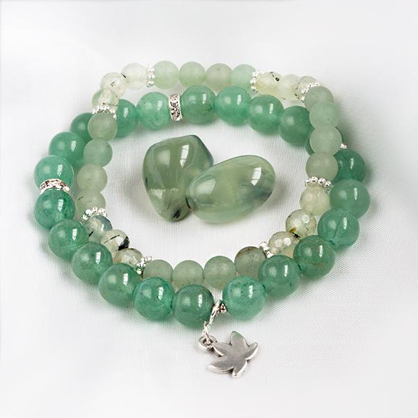 Armbandsset - Hope, grön aventurin & prehnit. Mineralsmycken.