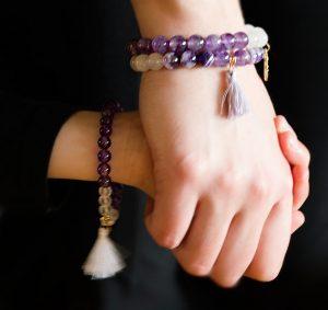 Mor & Barn kollektion - Ametist & Bergkristall armband