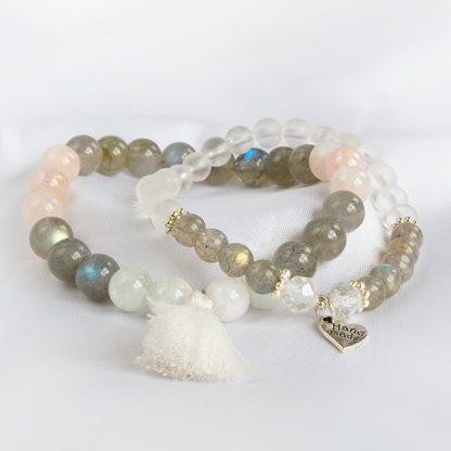 Armbandsset Sensitive - två armband (Labradonit, Morganit, Bergkristall)