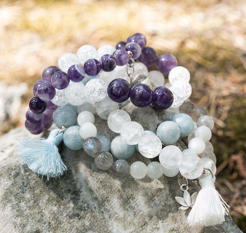 Akvamarin Bergkristall Labradonit Månsten. Armband av mineraler