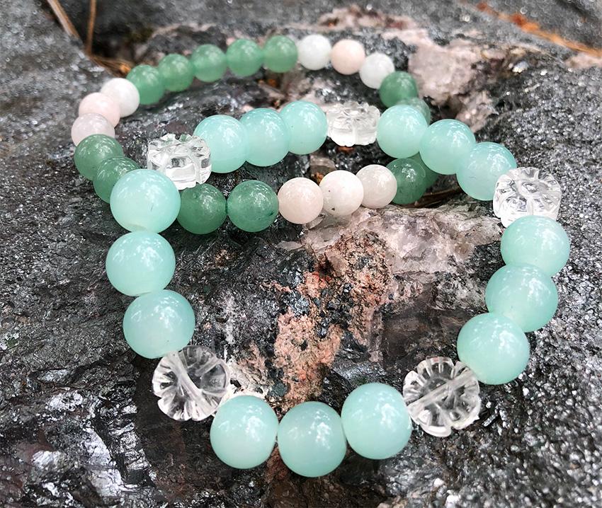 Aventurin & Morganit, Bergkristall & Jadeit armband