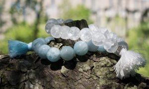 Akvamarin & Bergkristall. Armband.