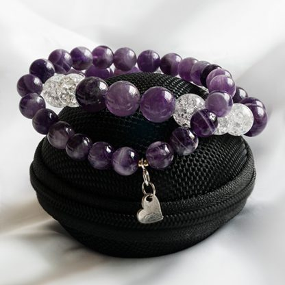 Armbandsset Namaste - två armband Ametist & Bergkristall