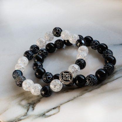 Armbandsset Fokus - Obisidan, is-bergkristall och klackelerad agat