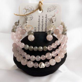 Smyckeset Balance- Rosenkvarts & Labradonit (Tre armband och örhängen)