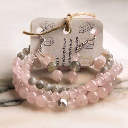 Smyckeset Balance - Rosenkvarts & Labradonit (Tre armband och örhängen)