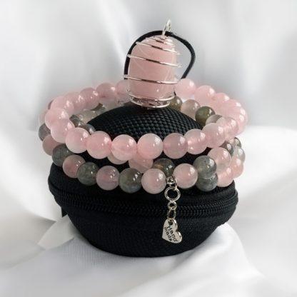 Armbandsset & Spiralhalsband - Fusion Rosenkvarts & Labradonit (tre armband och halsband)
