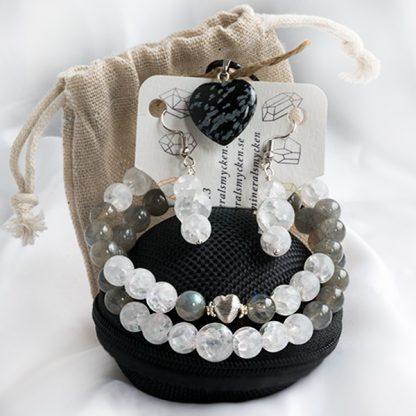 Smyckeset Snowflake - Bergkristall klackererad & Labradonit (Två armband, örhängen, halsband)