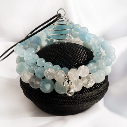 Smyckeset - Spiritual Akvamarin & Bergkristall (Tre armband & Spiralhalsband)