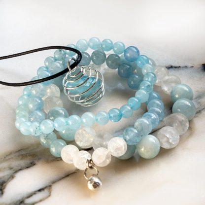 Smyckeset - Spiritual, Akvamarin & Bergkristall (Tre armband & Spiralhalsband)