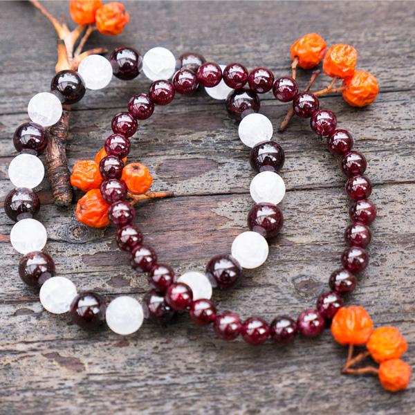 Armbandsset Fancy - Bergkristall & Röd Granat
