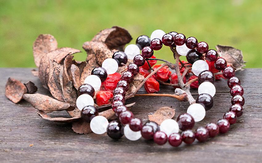 Armbandsset Månsten och Röd Granat