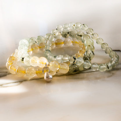 Armbandsset Crystal - (Gul bergkristall, Prehnit)