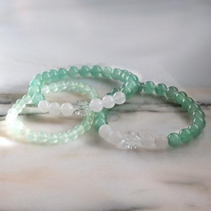 Armbandsset Healing - (Prehnit Jade Aventurin Bergkristall)