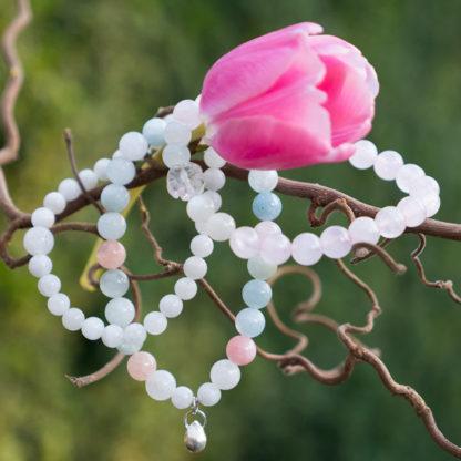 Armbandsset Spring - (månsten, morganit, rosenkvarts)