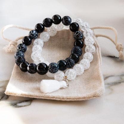 Armbandsset Black and White - (Isbergkristall, klackelerad agat, obisidan)