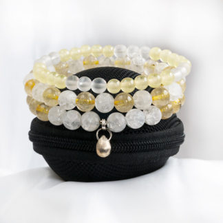 Armbandsset Future - (krackelerad bergkristall, gul bergkristall, jadeit)