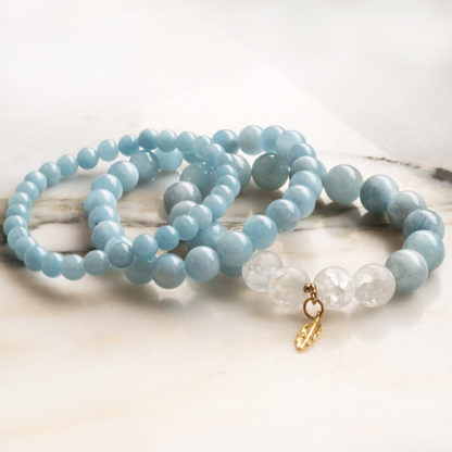 Armbandsset Heaven - (akvamarin, bergkristall)
